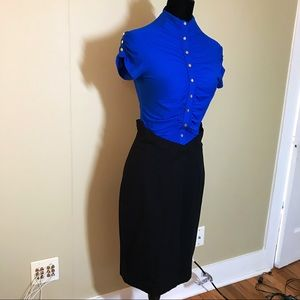 NEW blue and black button up mid length dress